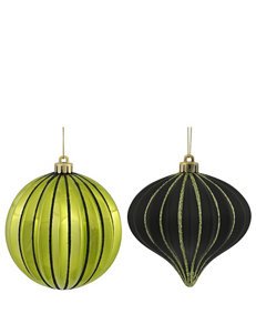 Christmas Central 9-pc. Green & Black Striped Shatterproof Christmas Ornaments