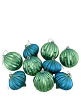 Christmas Central 9-pc. Blue & Green Striped Shatterproof Christmas Ornaments