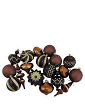 Christmas Central 18-pc. Black, Brown & Gold Shatterproof Christmas Ornaments
