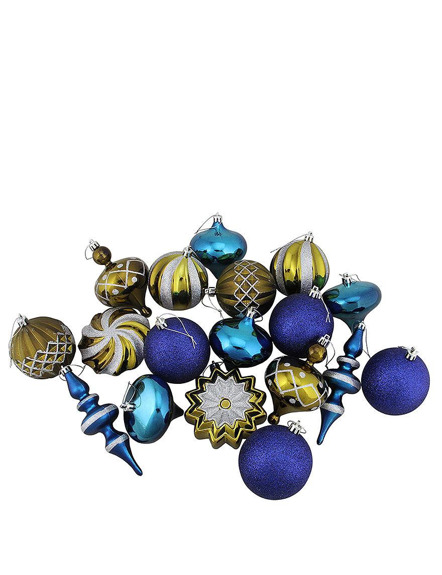 Christmas Central Blue Ornaments Holiday Decor