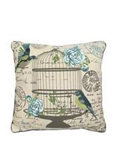 Artistic Linen Little Bird Cage Pillow