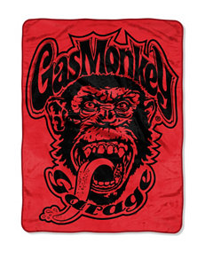 Gas Monkey Garage Red Monkey Logo Micro Raschel Throw