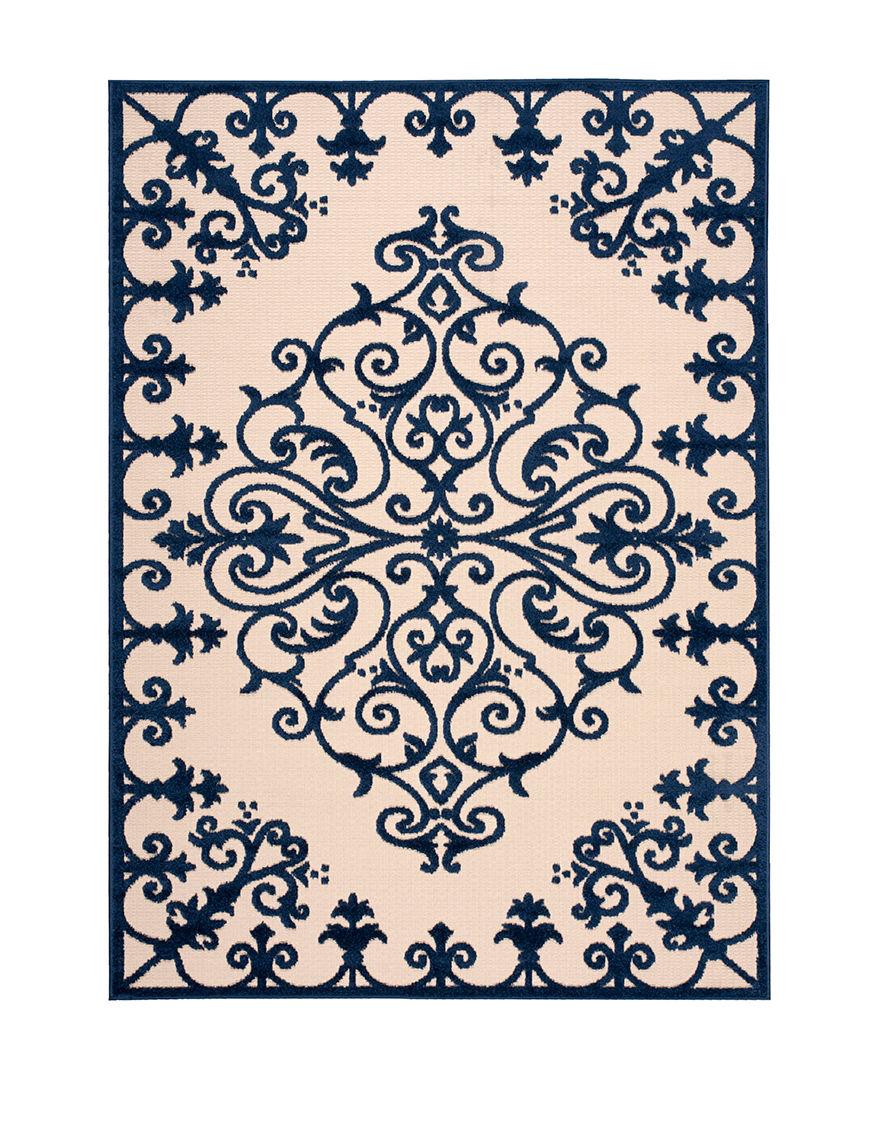 Nourison Navy Outdoor Rugs & Doormats Outdoor Decor