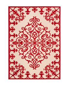 Noursion Aloha Red Leaf Print Indoor/Outdoor Rug
