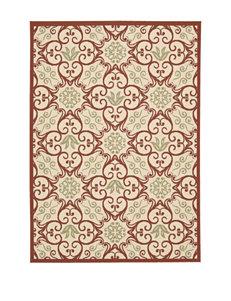 Nourison Ivory/Rust Outdoor Rugs & Doormats Outdoor Decor