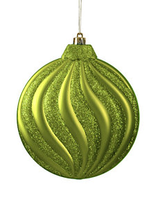 Christmas Central 6-pc. Matte Green Kiwi Glitter Swirl Shatterproof Christmas Ornaments