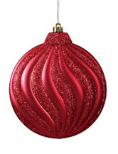 Christmas Central 6-pc. Matte Red Glitter Swirl Shatterproof Christmas Ornaments
