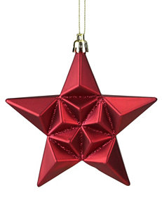 Christmas Central 12-pc. Matte Red Glittered Star Shatterproof Christmas Ornaments
