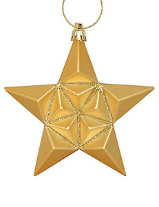 Christmas Central 12-pc. Matte Vegas Gold Glittered Star Shatterproof Christmas Ornaments