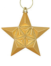 Christmas Central 12-pc. Matte Vegas Gold Glittered Star Shatterproof Christmas Ornaments