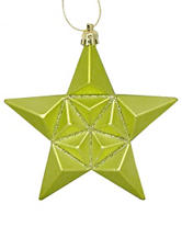Christmas Central 12-pc. Matte Green Kiwi Glittered Star Shatterproof Christmas Ornaments
