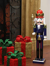 Christmas Central 24 Inch Decorative Blue King Wooden Christmas Nutcracker
