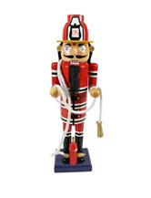 Christmas Central 14 Inch Decorative Wooden Red Christmas Nutcracker Fireman