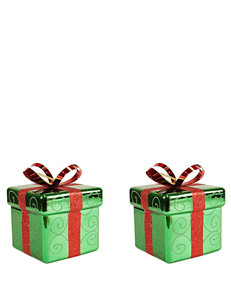 Christmas Central 2-pc. Green & Red Gift Box Shatterproof Christmas Ornaments