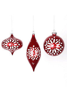 Christmas Central 3-pc. Red & White Glitter Star-Burst Christmas Ornaments