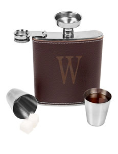 Cathy's Concepts Personalized Brown Leather Wrapped Flask Set