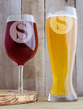 Cathy's Concepts Personalized Novelty Single Initial XL Beer & Wine Glass Set