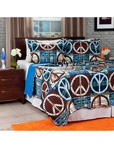 Lavish Home Blue & Brown Peace Quilt Set