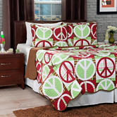 Lavish Home Brown & Red Peace Quilt Set