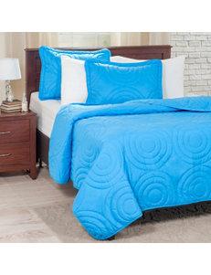 Lavish Home 3-pc. Blue Embossed Quilt Set