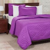 Lavish Home 3-pc. Purple Embossed Quilt Set