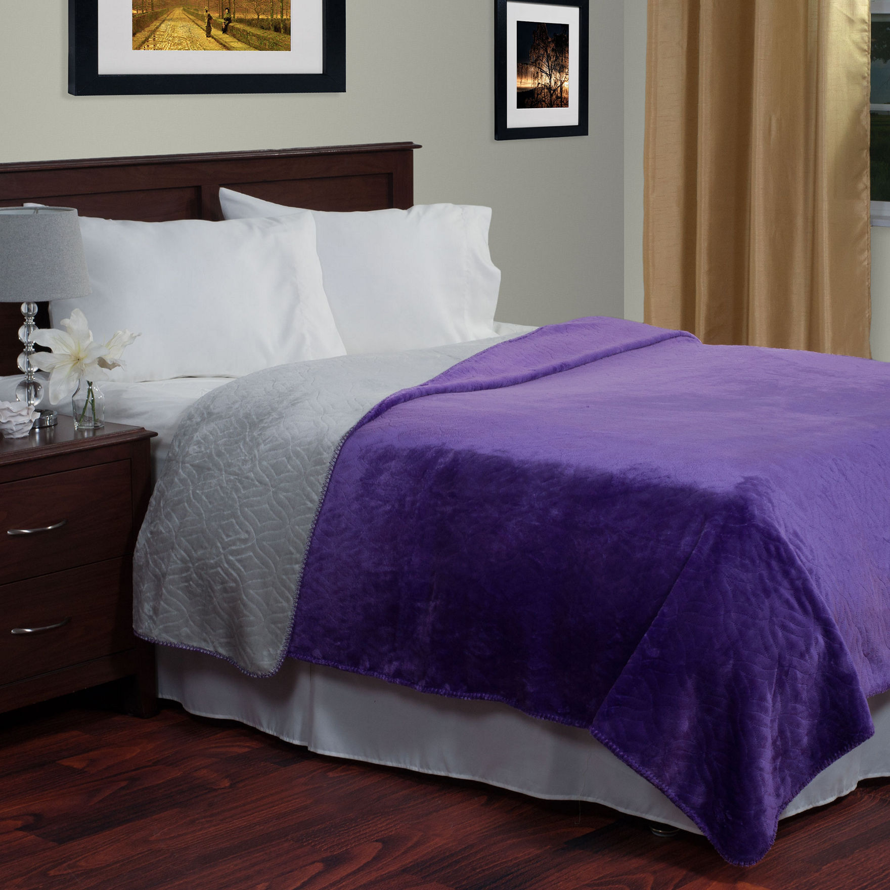 Lavish Home Purple / Grey Blankets & Throws