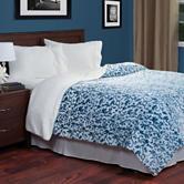 Lavish Home Blue Botanical Etched Fleece Blanket with Sherpa