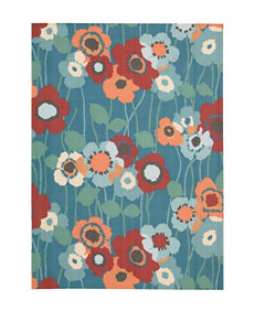 Waverly Sun n' Shade Bluebell Pic-A Poppy Indoor Outdoor Rug