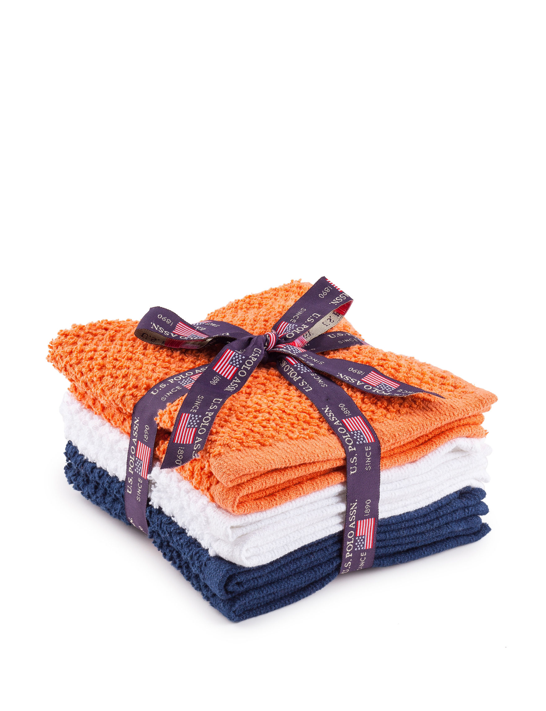 U.S. Polo Assn. Orange/ White/ Blue Hand Towels Towels