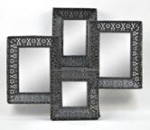 Concepts In Time Black Punched Metal Collage Mirror