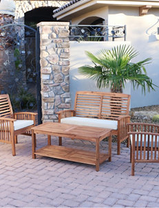 Walker Edison 4-pc. Brown Acacia Patio Conversation Set with Cushions