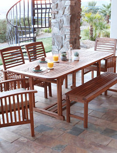Walker Edison 6-pc. Brown Acacia Patio Conversation Set with Cushions