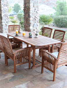 Walker Edison 7-pc. Brown Acacia Patio Conversation Set with Cushions