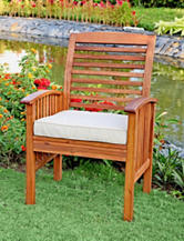 Walker Edison Set of 2 Brown Acacia Patio Chairs with Cushions