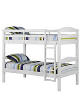 Walker Edison Twin Solid Wood Bunk Bed White