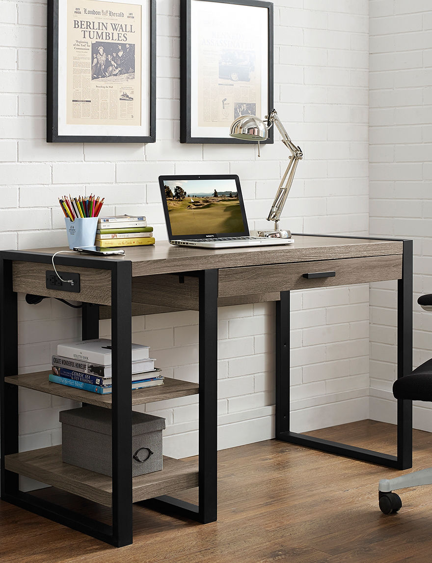 Walker Edison Ash Grey Desks Home Office Furniture