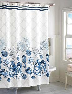 Destinations Blue Shower Curtains & Hooks