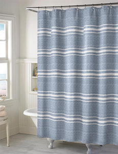 Style Lounge Blue / White Shower Curtains & Hooks
