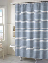 Style Lounge Blue & White Striped Print Shower Curtain