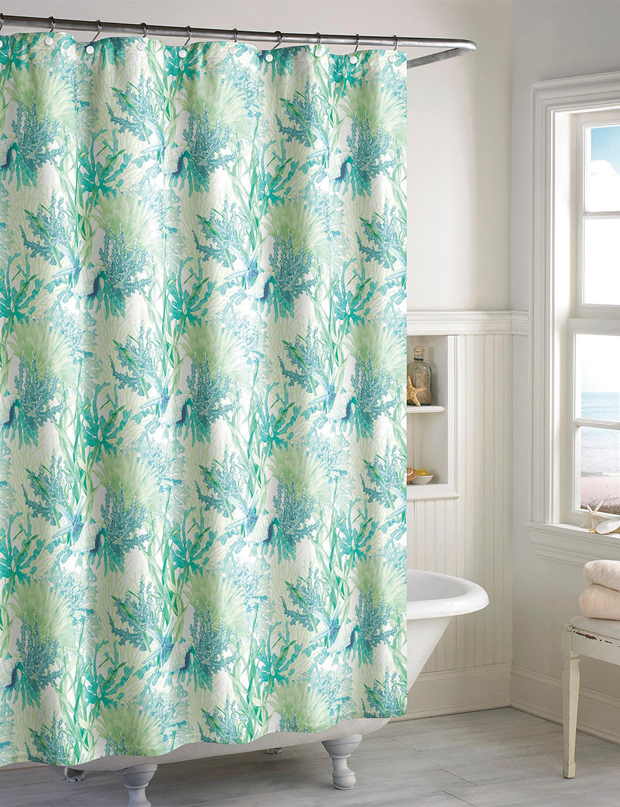 Destinations Aqua Shower Curtains & Hooks