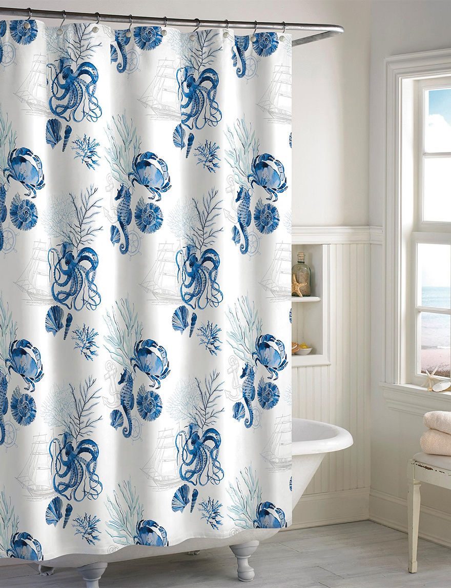 Destinations Blue Shower Curtains & Hooks