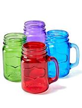 Circle Glass 4-pc. Multicolor Mason Jar Mug Glasses