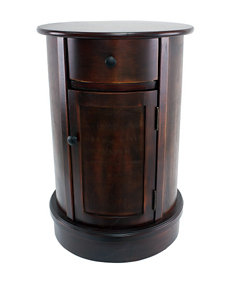 Decor Therapy Round Side Table with Door & Drawer