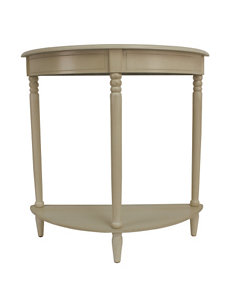 Decor Therapy Antique White Simplicity Half Round Accent Table