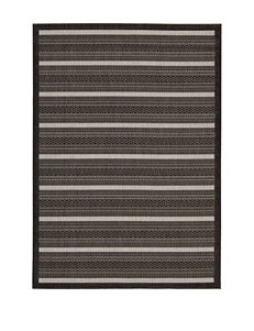 Nourison Eclipse Indoor/Outdoor Black Striped Rug