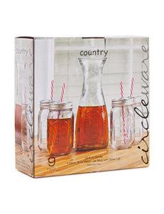 Circle Glass 5-pc. Carafe & Mason Jar Set