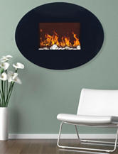 Northwest Black Oval Glass Electric Fireplace