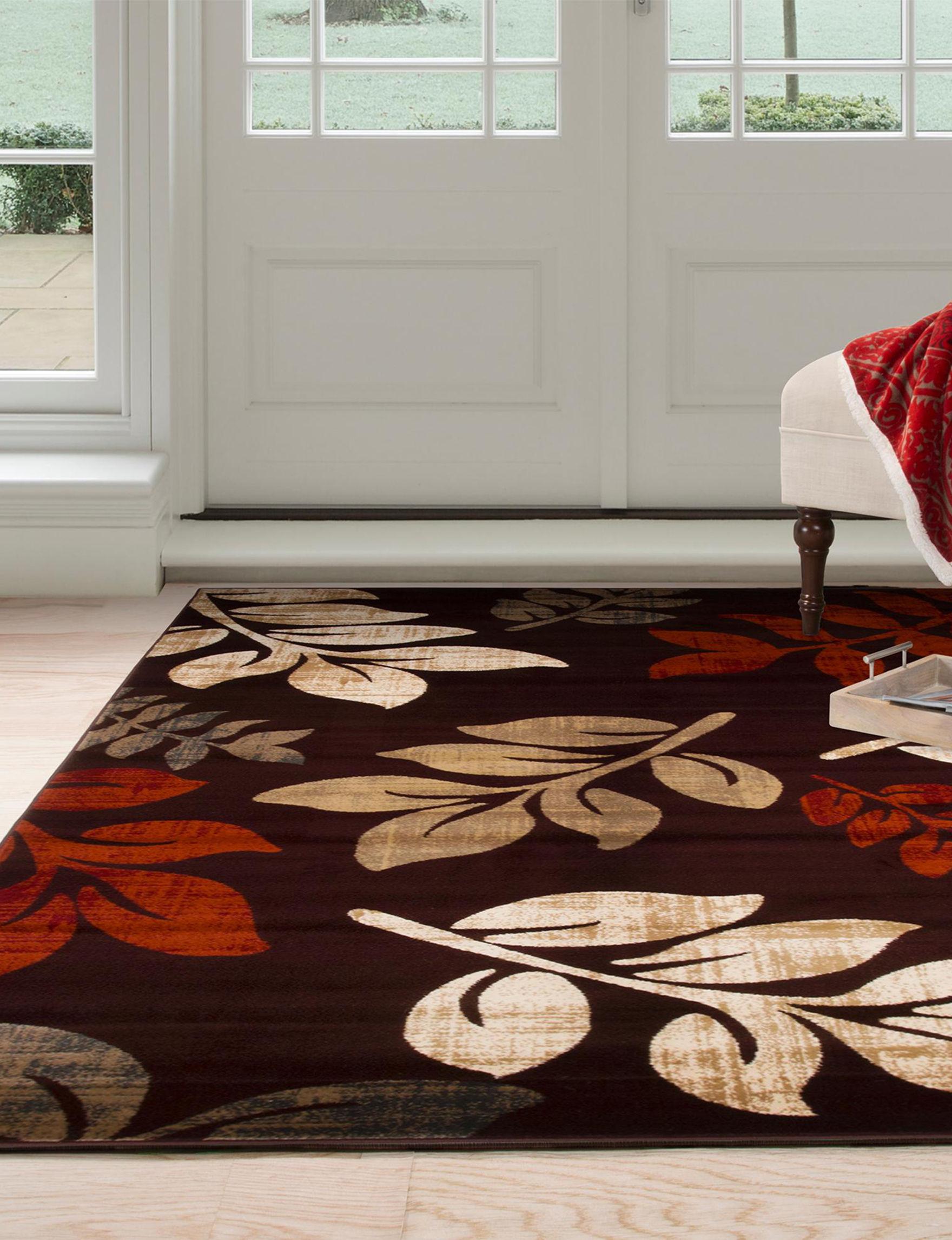 Lavish Home Burgundy/Tan Area Rugs Rugs