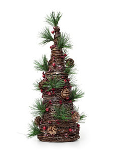 Jingle Bell Lane Rattan Cone with Pine Cones
