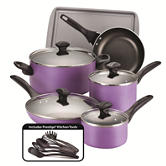 Farberware 15-pc. Purple Cookware Set